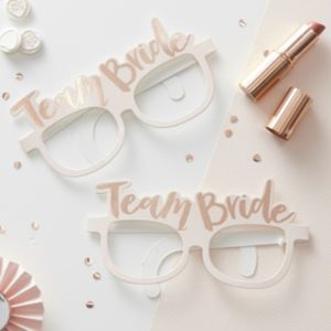 """Team Bride"" Paper Glasses With Gold Colour Print (8pcs)"