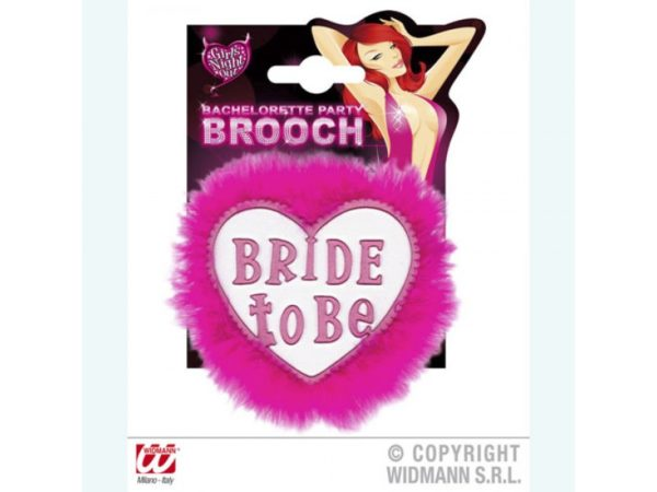 Heart Shaped Bride To Be Badge With Fuchsia Feathers And Print