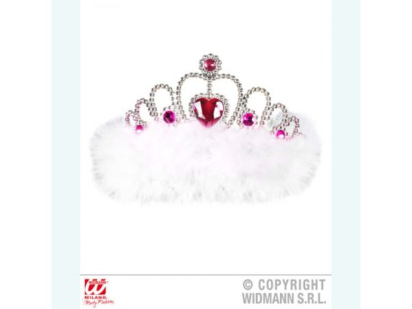 White Feathered Tiara With Pink Heart Gem Stones