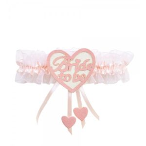 Pink Garter With White Heart And Pink Bride to Be Print.