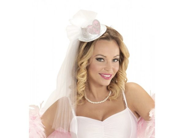Bride To Be Hat Head Piece With Sequences and White Veil