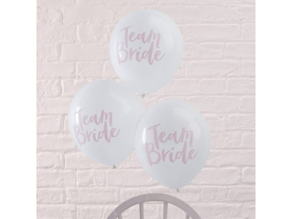 """""""Team Bride"""" White Latex Balloons With Pink Print (10pcs)"""