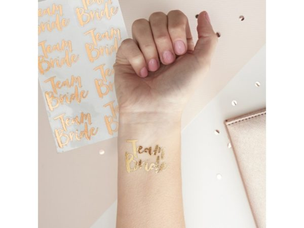 Rose Gold Tattoo For The Bridal Party With Team Bride Print