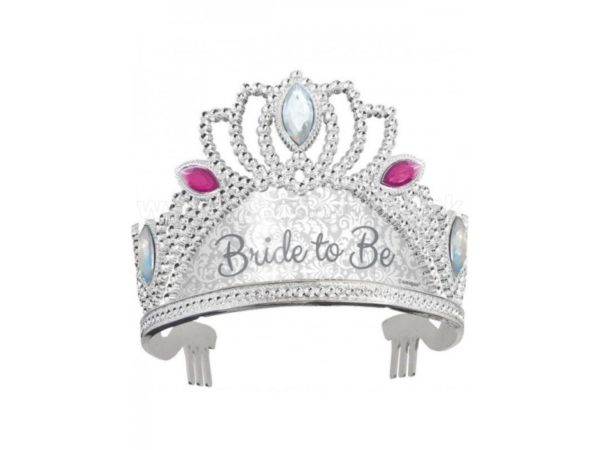 Silver Bride To Be Tiara with Pink Jewels