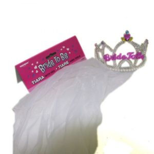 Bride To Be Tiara With White Veil, Pearls & Coloured Jewels