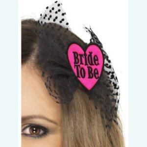 Bride to Be Hair Clip Black & Pink