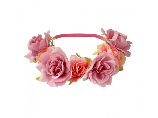 Floral Headband With Pink and Peach Coloured Roses. Wearable Accessories