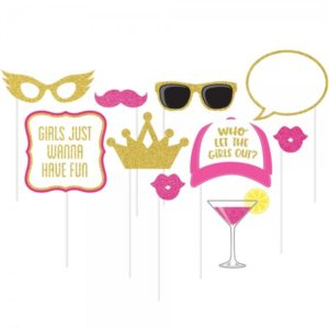 Girls Night Photo booth 10pc Set with Girls Just Want To Have Fun & Who Let The Girls Out prints