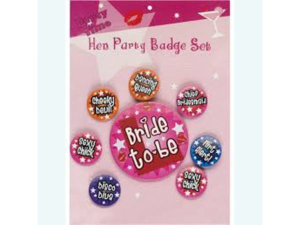 Hen Party Badge Set (8pcs)