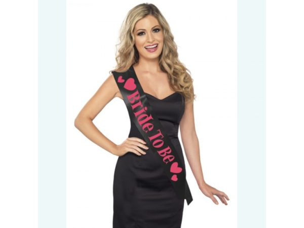 "Black "" Bride to Be"" Fabric Sash With Hearts in Fuchsia Coloured Print"