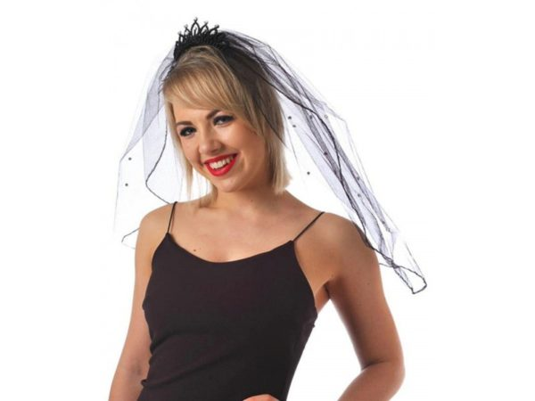 Black Tiara With Hair Clip And Black Veil