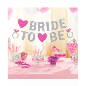 Bride To Be Girland In Silver Print With Pink Hearts And Bling Ring (3.65m)