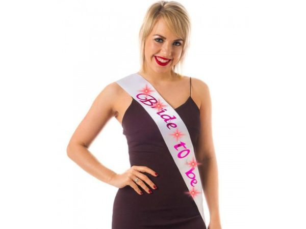 White Bride To Be Sash With Pink Print and Blinking Lights