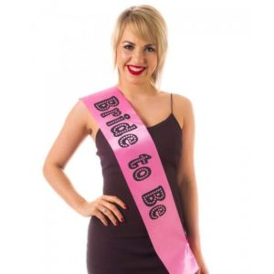 Pink, Broad, Bride To Be Sash With Black Print