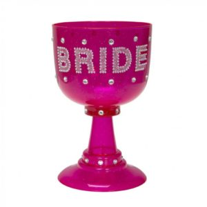 Big Pink Plastic Bride To Be Goblet With Silver Jewels