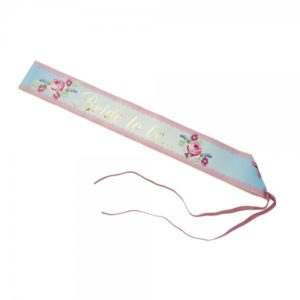 Bride to Be Sash With Gold Print And Rose Flowers