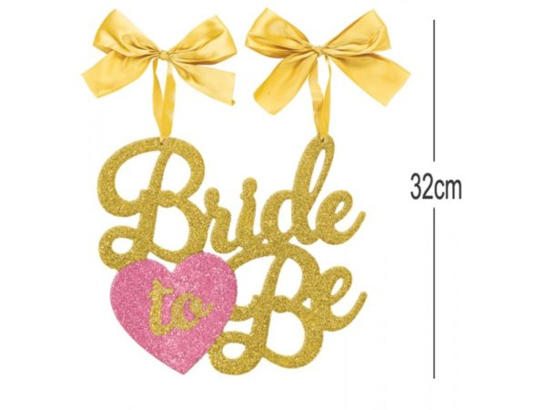 Bride To Be Hanging Decoration With Gold Satin Bows , Glitter & Pink Heart (32cm)