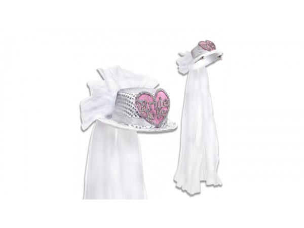 Bride To Be Headpiece With White Veil Hat & Heart