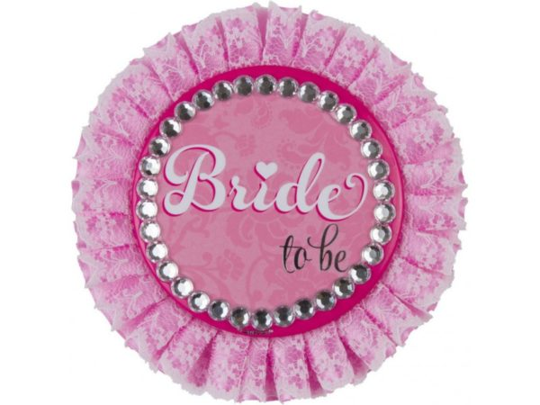Pink Bride To Be Badge With Rhinestones