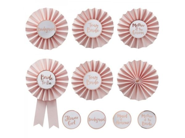6 Wedding Badges With 9 Stickers (Team Bride, Mother Of The Groom, Bridesmaid )