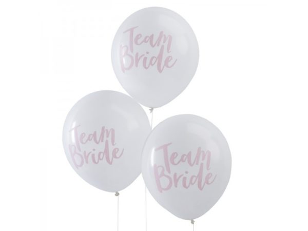 """""""Team Bride"""" White Latex Balloons With Pink Print"""