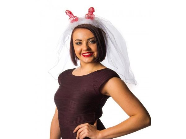 Novelty Pink Pecker (willy) Head Piece With White Veil And Fluffy Feathers