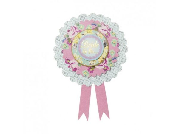 Romantic Style Bride To Be Badge With Flowers Prints