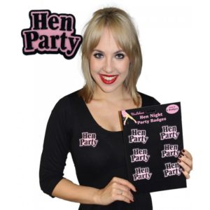 Black & Pink Hen Night Party Badges (6pcs)