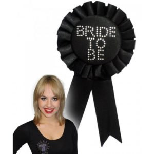 Black Ribbon Bride To Be Badge With Rhinestones