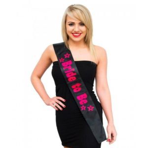 Black Bride To Be Sash With Pink Print