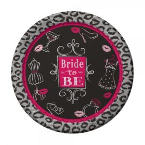 """Bride to Be"" Large Paper Plates For Bachelorette Party 8pcs 22.2cm"