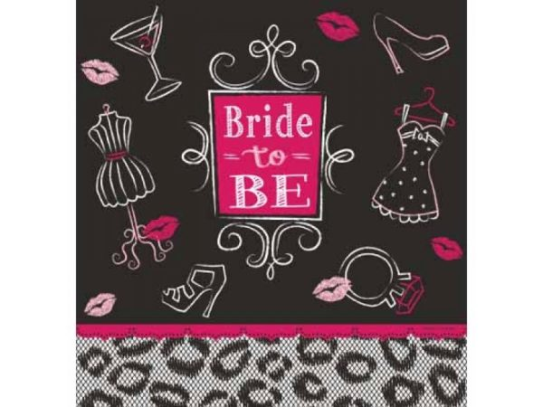 Bride To Be Luncheon Napkins - Black & Pink