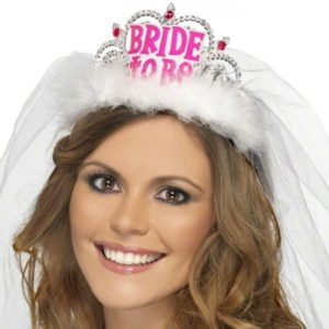 Bride To Be Tiara With White Veil And Pink Jewels
