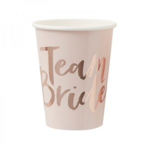Rose Gold Paper Cups With Team Bride Print 8pcs