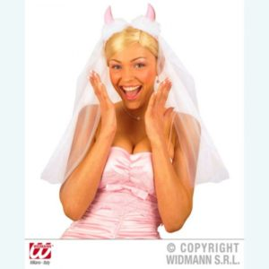 Headpiece With White Tulle Veil And Baby Pink Devil Horns