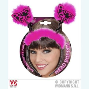 """Party Girl"" Black Headband With Fuchsia Feathers And Bouncy Springs"