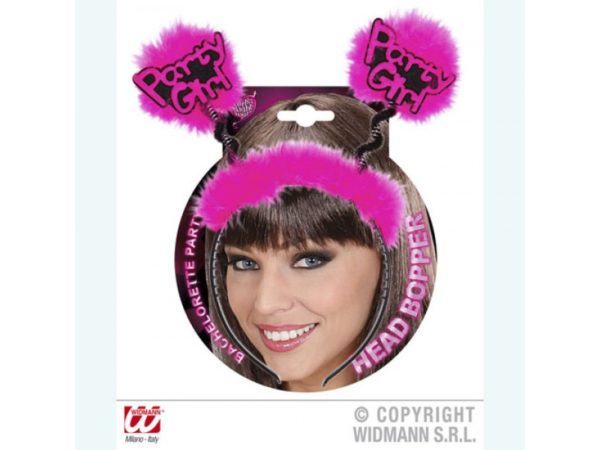 """""""Party Girl"""" Black Headband With Fuchsia Feathers And Bouncy Springs"""