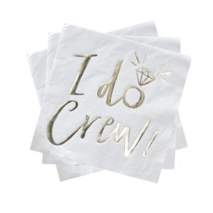 White Gold Foiled Luncheon Napkins «I DO CREW» (16pcs)