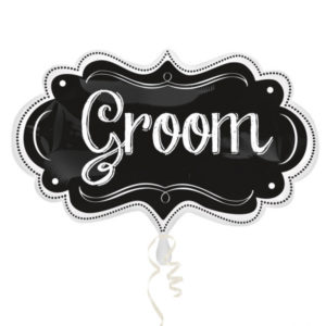 "White & Black Superhape Foil Balloon Frame ""Groom"" (68cm)"