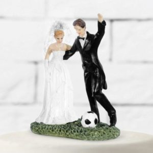 "Cake Topper ""Bride & Groom with A Soccer Ball"" (14cm)"
