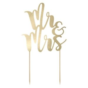 "Cake Topper Gold ""Mr & Mrs"" (25cm)"