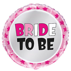 "Hot Pink Foil Balloon ""Bride To Be"" with Stars (45cm)"