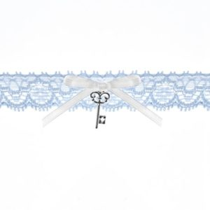 Sky Blue Lace Garter with Silver Key