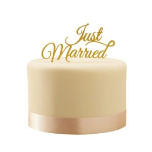 "Gold ""Just Married"" cake topper"