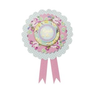 "Gold Foiled ""Bride to Be"" Paper Rosette Badge"