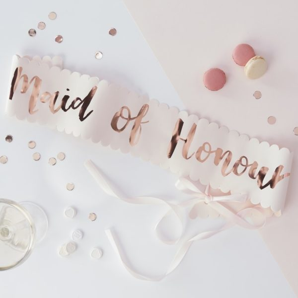 "Rose Gold Print ""Maid of Honor"" Paper Sash"