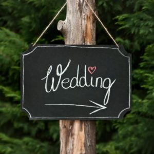 Hanging Chalkboard Sign with Sticks of Chalk