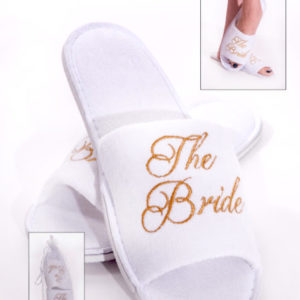 "White Slippers with Gold Embroidery ""The Bride"""