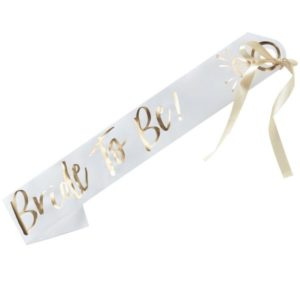 "Gold Foiled ""Bride to Be"" White Paper Sash"