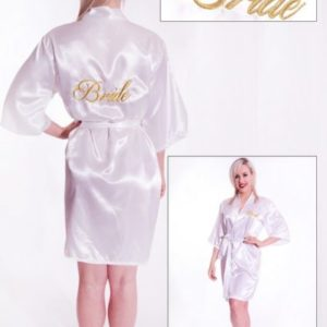 "White Fabric Kimono with Gold Embroidery ""Bride"" (one size)"
